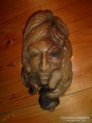 Szecessziós jelzett faragott női fej