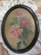 Szecessziós selyem kép rózsákkal