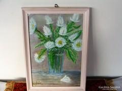 Szűcs szignóval fehér virágos csendélet