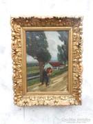 Antik festmény gyönyörű fa keretben.Olaj vászon.