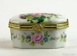 0K481 Kisméretű réz keretes porcelán szelence