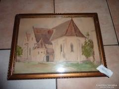 Pataky László:Templomocska, régi akvarell jelzett