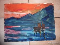 Vitorlások napfelkeltében, akvarell