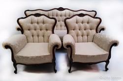 Barokk ülőgarnitúra frissen kárpitozva