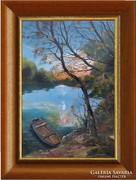 --Ladik a Tiszán -Eredeti kortárs festmény-