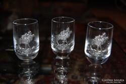 Szarvas mintás pálinkás pohár