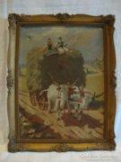 Jelzett régi olaj-vászon festmény ökrös szekér alakokkal