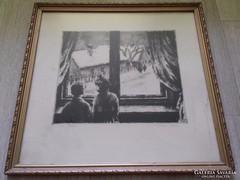 Kórusz József  Téli ablak rézkarc