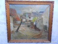 Curilovic Ottokár(1908-1961)Falusi utca.Festmény.Szép keret.