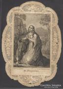 Álomszép régi finom csipke szentkép St. Magdaléna 1862