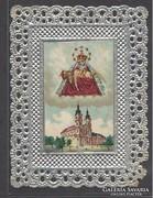 Álomszép régi csipke szentkép dombornyomott ezüst szinű