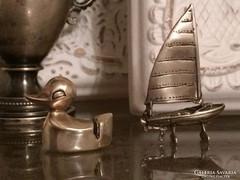 Ezüst antik kacsa képtartó 925,és 800as antik vitorlás hajó