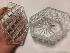 Régi kristály ékszeres fedeles doboz