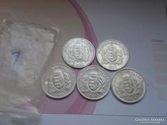 Ezüst 1 pengő teljes sor 1926,27,37,38,39 szép sor