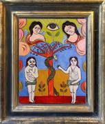 Anna Margit - Éden - Ádám és Éva - olaj, vászon - 50 x 40 cm