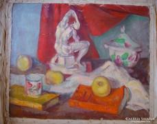 Ismeretlen festő - 3 festmény - 3 csendélet - olaj, vászon