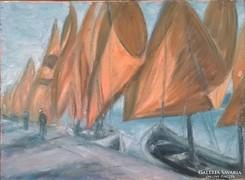 Kikötő - olajfestmény