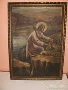 Jézus báránnyal. Olajfestmény