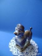 Zsolnay porcelán szürkészöld uszkár kutya