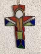 Egyedi iparművész által készitett Tífani kereszt 21,5×14.5cm