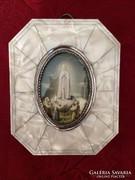 Régi gyöngyház keretes szentkép a belső keret ezüst