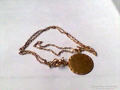 Antik arany nyaklánc medállal