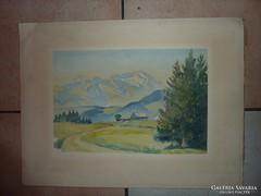 Nagybányai táj, akvarell, jelzéssel