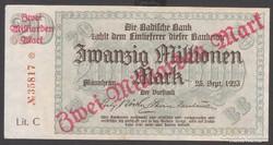 1923.Mannheim Banknote 2 Milliárd márka.