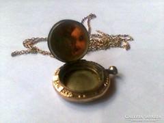 Antik arany nyalánc fényképtartós medállal