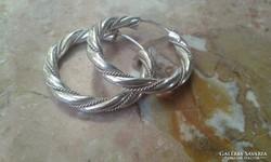 Különleges mintázatú régi ezüst karika fülbevaló