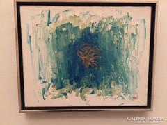 Kortárs absztrakt festmény, a művésztől, keretben