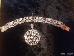 Antik ezüst medál +karlánc