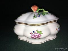 Ritka Herendi eton mintás porcelán szamócás bonbonier 14 cm