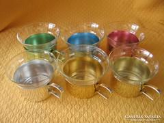 Retro jénai teás poharak színes alu tartóban