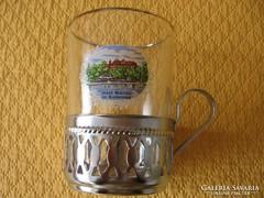 Retro teás látképes pohár fém tartóban