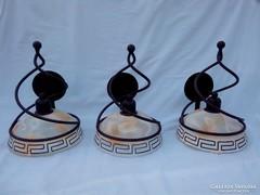 3 db Gyönyörű Antikolt Opál búrás falikar
