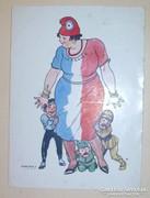 Márton Lajos szignós politikai karikatúra lap körülvágott!