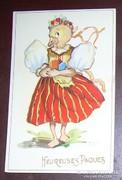 Húsvéti üdvözlet ruhás csirke lány