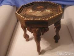 Csont berakásos antik elefántdíszes tea kávézó asztal /41/
