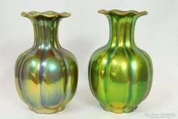 Zsolnay eozinmázas váza pár