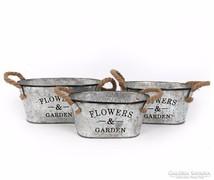 ÚJ!Flowers Garden,vintage 3 db ovális fém kaspó kötél füllel