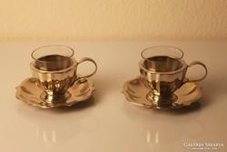 2 db alpakka mokkás csésze üvegbetéttel