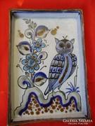 Antik mexikói baglyos kerámia kínáló,dísz tányér