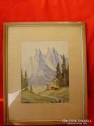 Régi akvarell Alpesi táj