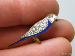 Ap 477 - Aranyos hullámos papagáj kitűző kék fehér tűzzománc