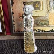 Rakuzott, jelzett, kerámia szobor - art ceramic sculpture
