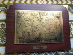 Világtérkép, antik hatású, föld, térkép , falikép