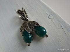 925 ezüst fülbevaló  Zöld Achát kővel és markazittal