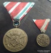 Bolgár háborús emlékérem és szalagos minije