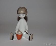 Art deco Hollóházi homokozó kislány